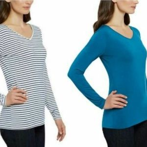 Women's Reversible Tee Long Sleeve Top Scoop